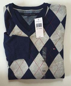 3ba1f0e6 NWT Men's Tommy Hilfiger V-Neck Pima Cotton Cashmere Pullover Sweater | eBay