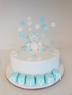 Add blue dots not stars Christening Cake Boy, Name Blocks, Blue Dots, No Bake Cake, Amazing Cakes, Birthday Cake, Facebook, Baking, Stars