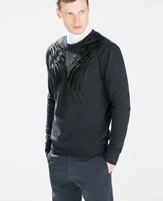 ZARA - MAN - SWEATSHIRT WITH EMBROIDERED WINGS