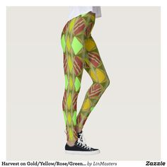 Harvest on Gold/Yellow/Rose/Green/Mint Fashion Leggings : Beautiful #Yoga Pants - #Exercise Leggings and #Running Tights - Health and Training Inspiration - Clothing for #Fitspiration and #Fitspo - #Fitness and #Gym #Inspo - #Motivational #Workout Clothes - Style AND comfort can both be achieved in one perfect pair of unique and creative yoga leggings - workout and exercise pants - and running tights - Each pair of leggings is printed before being sewn allowing for fun designs on every…