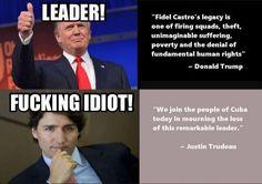 Canada PM Justin Trudeau vs USA President Donald Trump's reactions to Fidel Castro death. Caricatures, Trudeau Canada, Cuba Today, Trump We, Fiction, Fidel Castro, Conservative Politics, Conservative Quotes, Truth Hurts