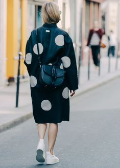 Over sized polka-dot duster coat