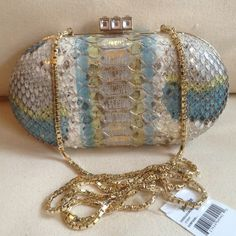 "HOST PICK Judith Leiber Snakeskin Clutch NWT Judith Leiber Allera Ombré Python Minaudière Champagne/Taupe Snakeskin Clutch, Golden  Hardware & Interior.  3 7/8""Hx 7 1/8""Wx 2""D Rectangle clasp w/ clear & green bejeweled accents. NWT Judith Leiber Bags Clutches & Wristlets"