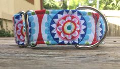 Scandinavian Floral  1.5 Martingale Dog Collar by WrenfieldLeashes