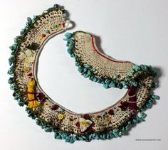 Completely hand-made necklace. The most beautiful needle lace is the silk one.The only equipment and materials used are a needle, thread and
