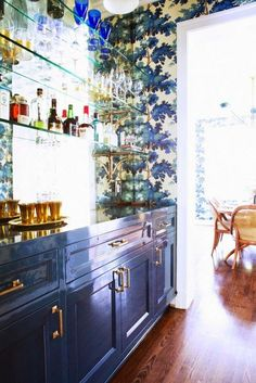 Beautiful bar area. Love the lacquered cabinets.