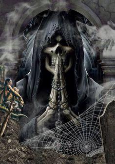 Death, I prey you actually come for my sole in person✌ Grim Reaper Art, Grim Reaper Tattoo, Don't Fear The Reaper, Dark Gothic, Gothic Art, Gothic Images, Airbrush Art, Dark Fantasy Art, Dark Art