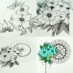 Dream Catcher, Tattoo Ideas, Mandala, Watercolor, Tattoos, Flowers, Dreamcatchers, Watercolor Painting, Tatuajes