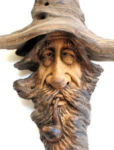 Natural Wood Sculpture | ORIGINAL-WOOD-SPIRIT-NATURAL-CARVING-WIZARD-PIPE-TOBACCO-SMOKE-OOAK ...
