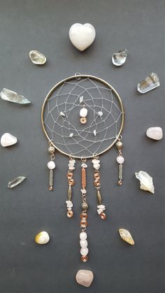 Wire Dreamcatcher, Wired Dream Catcher, Rose Quartz Stones, Crystal Healing Art, Wire Wrap Art, Dream Catchers, Zen Meditation Decor, Home by WireMoonJewelry on Etsy