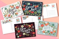 Floral Postcard Collection by Werlang Paper on @creativemarket