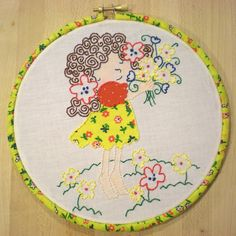 Hand embroidery and appliqued vintage fabric. Skin tinted with chalk...By xperimentl