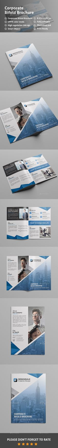 Corporate Bifold Brochure Corporate Brochure Template by Pixelpick. Bi Fold Brochure, Business Brochure, Corporate Brochure, Brochure Design, Brochure Template, Information Graphics, Book Layout, Layout Design, Creative Design