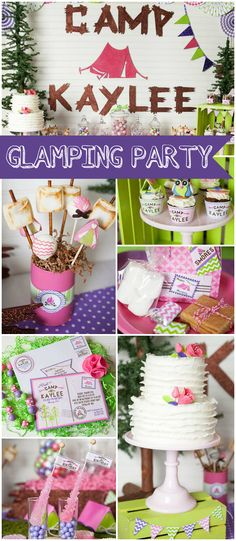 What a colorful & girly glam camping birthday! See more party ideas at CatchMyParty.com!