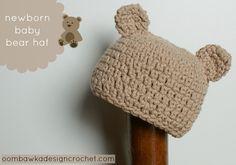 Crochet Newborn Baby Bear Hat - Tutorial ❥