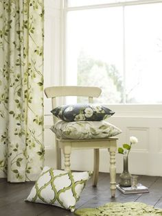 Prestigious Textiles   Garden Party Fabric Collection   Classic White  Curtains With Green Leaf Patterns And