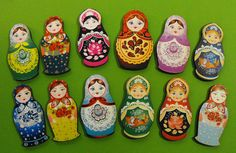 Wooden Russian Dolls - Collection of 12 Wood Laser Cut Pieces - Art Parts for Crafters op Etsy, 5,92€