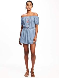 bc2961aa670 Off-the-Shoulder Tencel® Romper for Women | Old Navy Clothing For Tall