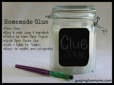 Homemade Glue - Perfect for home paper crafts like Paper Mache and so easy to make with only 4 ingredients! Safe and edible too! 1 cup Cornflour or Cornstarch 1 tablespoon of white vinegar 2 teaspoons of Salt 4 cups of Hot Water Home Made Glue, Diy For Kids, Crafts For Kids, Diy Glue, Fun Crafts, Paper Crafts, Paper Mache Projects, Art Projects, Diy Papier