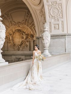 Wedding Inspiration at San Franciso City Hall | Carol Hannah Centaurea Gown and Mica Veil | Photography: Tenth and Grace | Styling and design: Chloe+Mint | Florals: The Bloomery Co. | Hair and makeup: Angela Nunnink | Calligraphy: Seniman Calligraphy | Groom's attire: Friar Tux | Jewelry: Susie Saltzman | Shoes: Bella Belle Shoes
