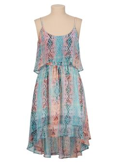 high-low printed chiffon dress