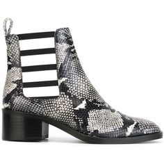 Each X Other snake skin print cut-out boots ($325) ❤ liked on Polyvore featuring shoes, boots, black, genuine leather boots, cutout boots, snakeskin boots, black boots and snakeskin shoes