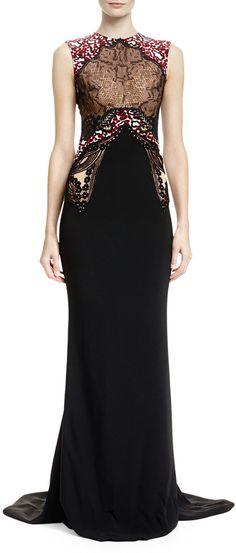 Stella McCartney Mixed-Print Mermaid Gown, Black/White  //    @kimludcom   <>    www.kimlud.com