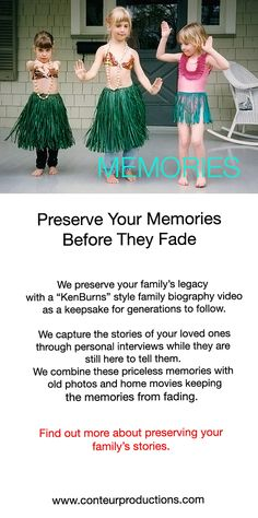 """Preserve your family's story with a """"Ken Words"""" style family biography video.  We create priceless keepsake videos for generations to come."""