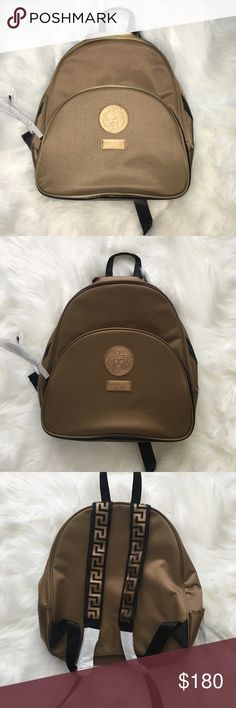 Limited Edition Gold Versace  Perfumes Backpack Limited Edition Gold Versace  Perfumes Backpack  New Item  Pictured w/ and w/out flash  Small mark as pictured (came like that)  Price is firm* Versace Bags Backpacks