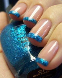 Blue glitter french nails