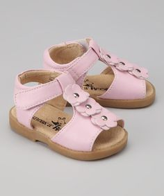 Take a look at this Pink T-Strap Squeaker Sandal by Sneak A' Roos on #zulily today!