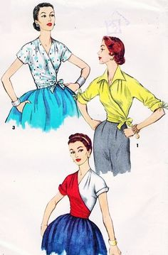 1950s STRIKING  Surplice Wrap Around Blouse Pattern SIMPLICITY 1129 Three Beautiful Styles Day or Evening Blouses Bust 32 Vintage Sewing Pattern