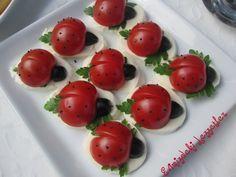 """Geçen seneden beri taslakta bekleyen bu sevimli domatesler, içimden geldigi gibi  arkadasimizin """"domateslerle yapilan ugur bocekle..."""