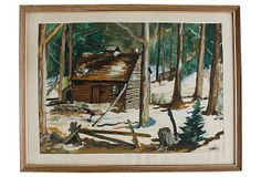One Kings Lane - Cool School - Cabin in Snow Watercolor