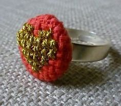 SALE! Gold heart cross stitch adjustable ring