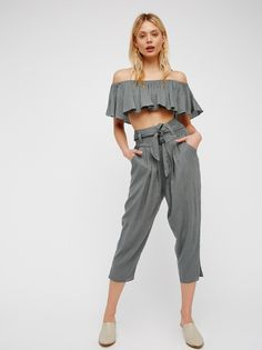 FP The Lelani Ruffle Overlay Off-The-Shoulder Cropped Top & Harem Pants Lounge Set (Lochness)