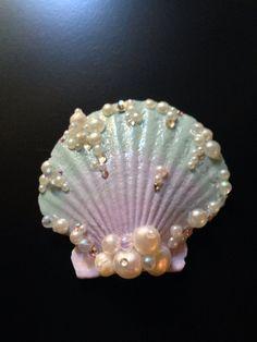 Lavender Mint Seashell Hair Clip by LandlockedM3rmaid on Etsy