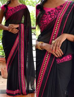 Attractive BLACK COLOR 60GM GEORGET EMBROIDERY WORK SAREE Bollywood Sarees Online on Shimply.com