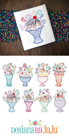 Machine Applique, Machine Embroidery Designs, Quilting, Doodles, Ice Cream, Sweet, Projects, Beautiful, No Churn Ice Cream