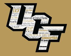 """Original artwork using words to describe """"UNIVERSITY OF CENTRAL FLORIDA"""" -- Show off your Knights pride in your home/dorm room/office with this print that details the many words for all things UCF like Knightro, Pegasus, Orlando, Zombie Nation and more. Come visit the Lexicon Delight Etsy store!"""