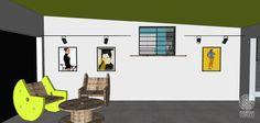 A garagem da casa ganha um uso muito mais interessante do que somente o de abrigar carros. Suas paredes agora podem funcionar como uma galeria, onde pinturas, fotografias, colagens e outras artes podem ser expostas. A iluminação pontual valoriza as obras. O uso de mobiliário criativo reutilizado traz mais personalidade ao espaço.