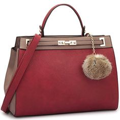 Amazon.com: Dasein Women's Designer Top Handle Satchel Handbag Two Tone Shoulder Bag With Pom-Pom Puff (Black/Wine): Shoes