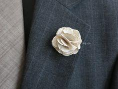 Rustic Linen Men's Boutonniere  Men's Lapel Flower