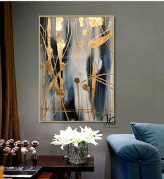 Large Abstract Oil Painting Original art,Gold Leaf painting, Blue Gold Wall Decor Bedroom Above bed,Textured Painting by Julia Kotenko