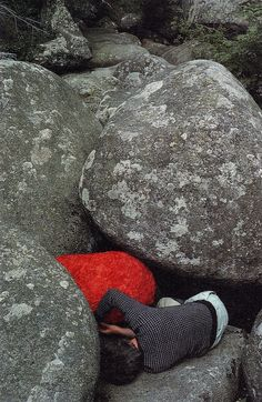 Andy Goldsworthy wrapping poppy petals around a granite boulder , 1989  Such a badass.