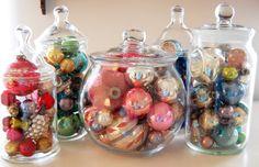 pretty https://flic.kr/p/8SdJrj   vintage christmas ornaments in jars
