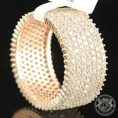 GORGEOUS 14K ROSE GOLD OVER THICK STERLING SILVER LAB DIAMOND WEDDING BAND RING