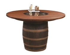 Amish Barrel Table with Glass in Center Pub height perfection is captured in this rustic style table. Amish made in America. #pubtable #diningtable