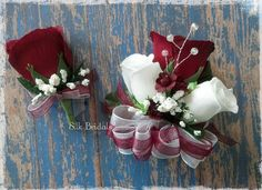 Burgundy and White Silk Roses Pin-on Corsage and boutonniere set