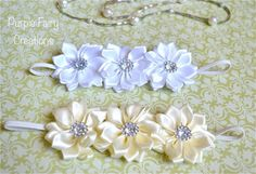 Special Occasion Triple Satin Flower Headband (White or Ivory) Baptism, Christening, Wedding, Bridesmaid, Flower Girl, Baby Shower by PurpleFairyCreations, $6.00